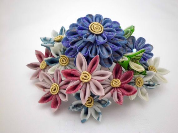 Colorful flower bouquet  blue french rose white  by JagataraArt, $65.00