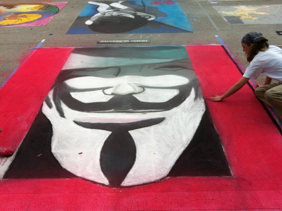 V for Vendetta done in chalk
