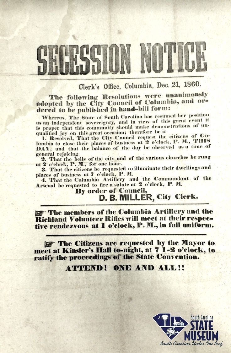 Secession notice december 21 1860 clerks office columbia secession notice december 21 1860 clerks office columbia south carolina fandeluxe Choice Image
