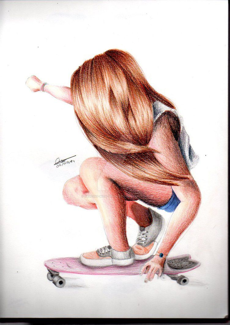 Skateboard Girl By Dancing With Pencils Skatista Desenho