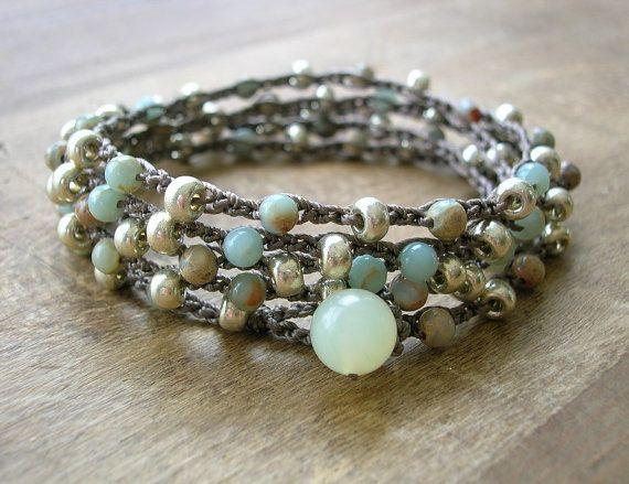 Bracciale in perline bohemien  Driftwood  Boho uncinetto