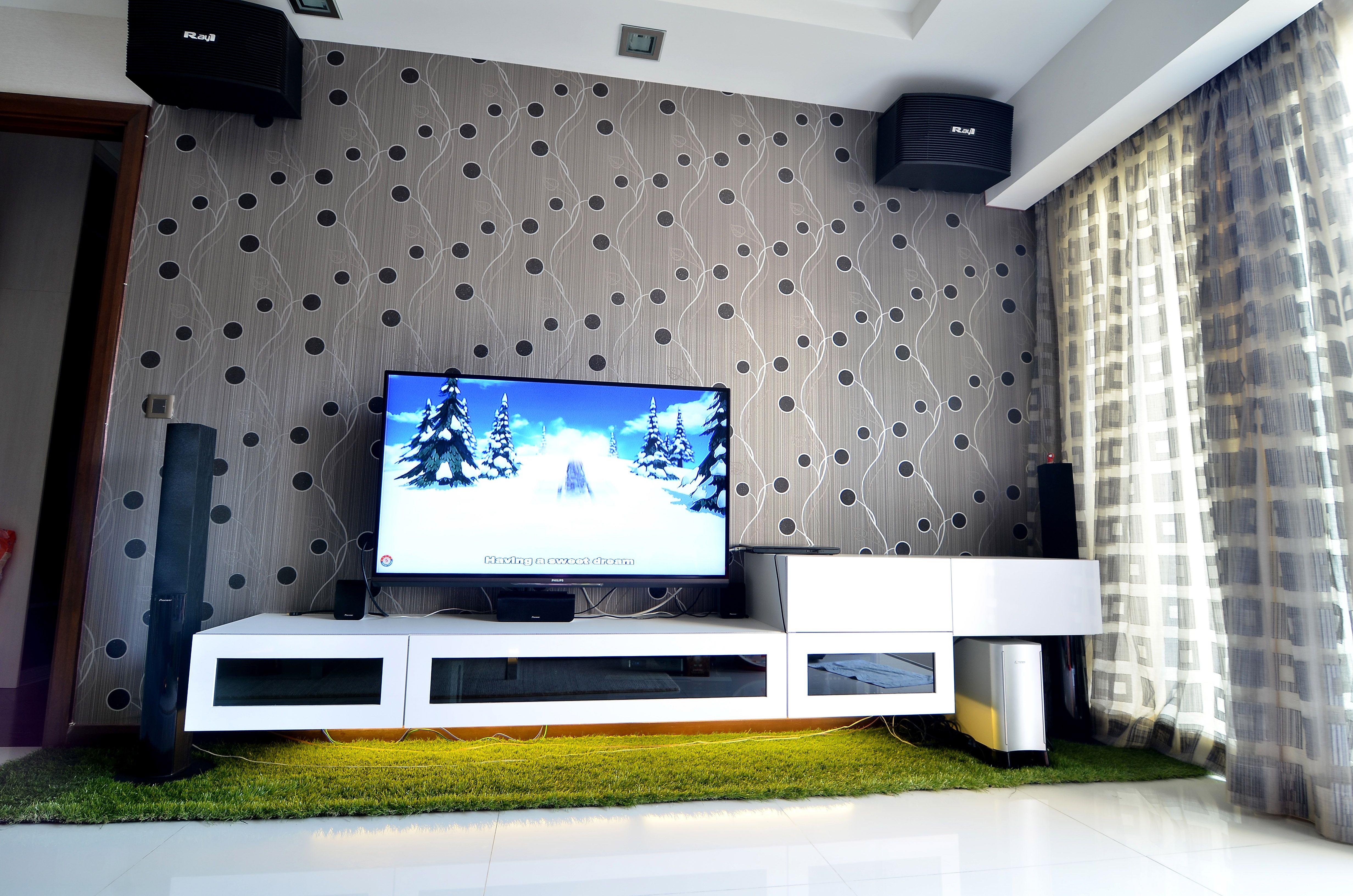 Tv Cabinet White Livingroom Wallpaper Grass