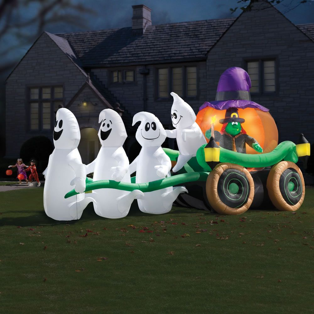 inflatable illuminated ghastly stagecoach outdoor blow up halloween lawn decor - Cheap Halloween Yard Decorations