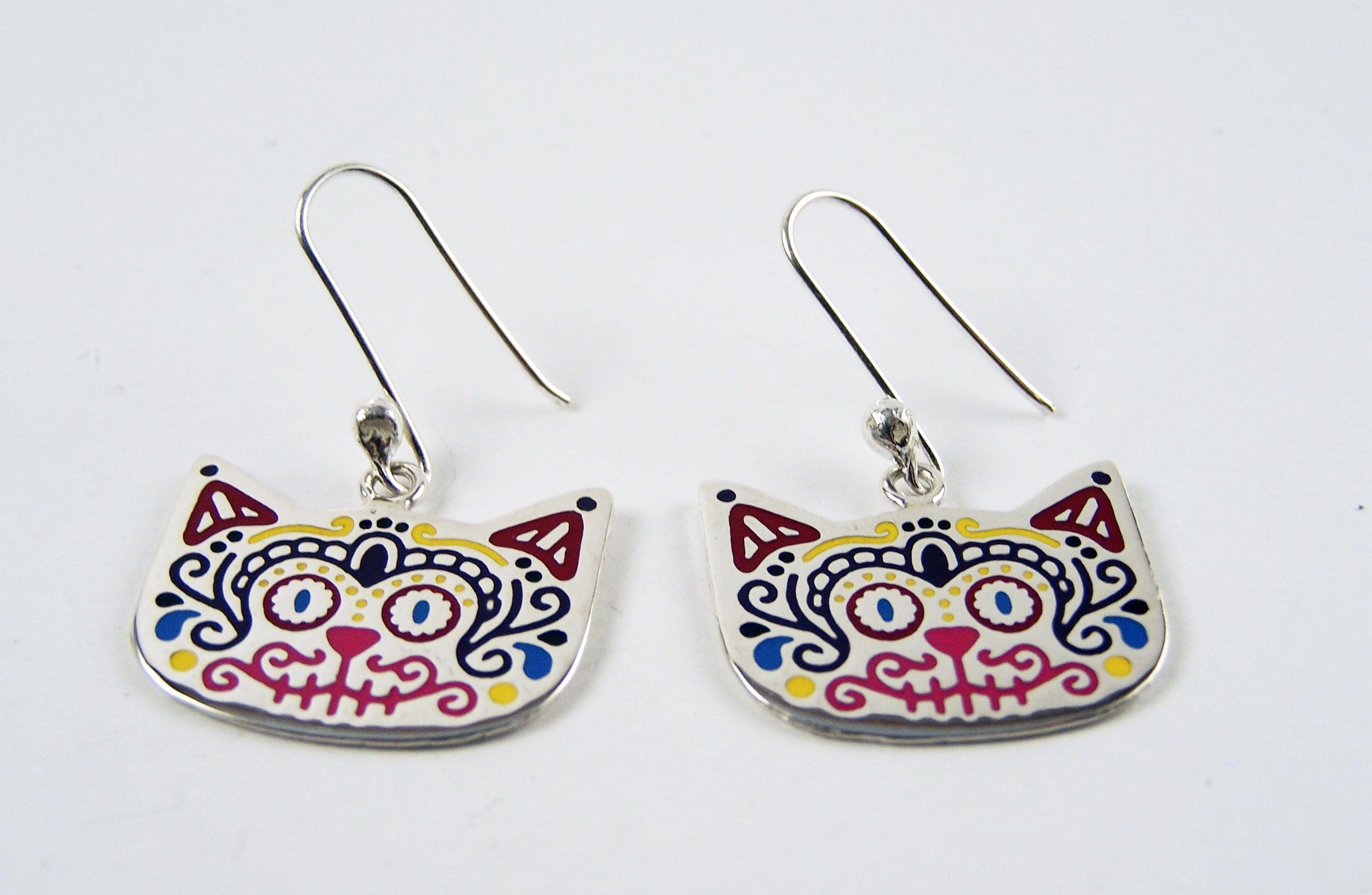 28db5a2f8a9e pendientes mexicanos de gato Plata mexicana 925