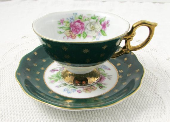 Shafford Green Tea Cup and Saucer with Flowers Hand Decorated, Vintage Bone China