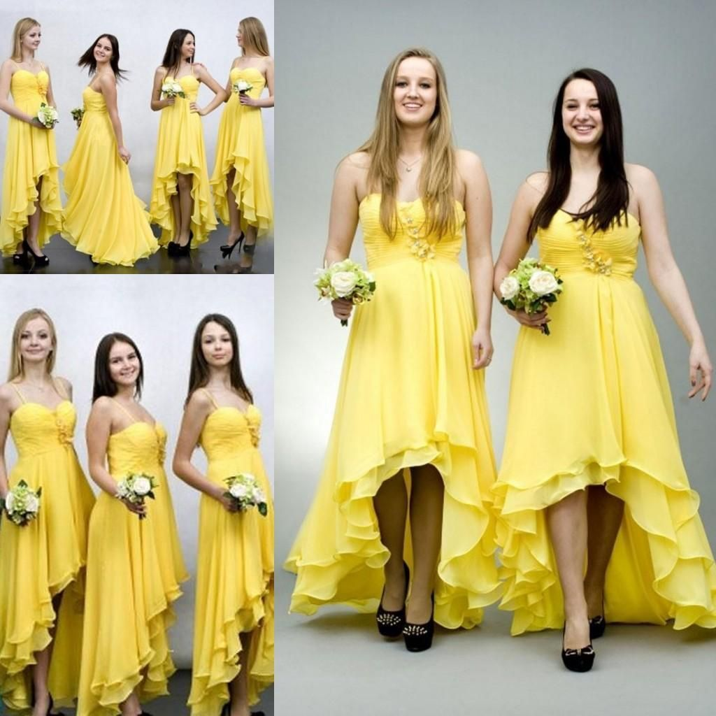 Elegant yellow chiffon high low bridesmaid dresses for wedding elegant yellow chiffon high low bridesmaid dresses for wedding sale 2016 cheap spaghetti tiered gowns cheap ombrellifo Gallery