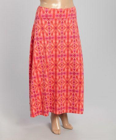 2bec7f83bb4 Loving this Salmon   Fuchsia Arabesque Maxi Skirt - Plus on  zulily!   zulilyfinds