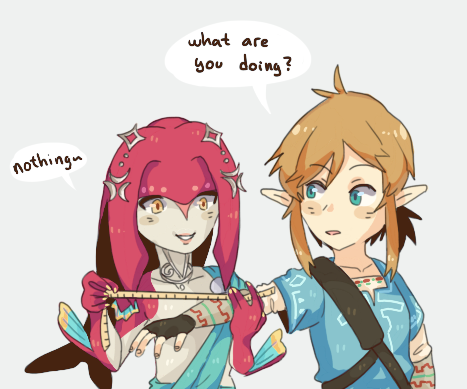 Mipha Measuring Link For His Zora Armor Breath Of The Wild