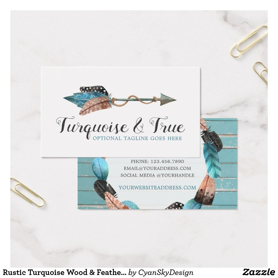 Rustic turquoise wood feather arrow boho chic business card by rustic turquoise wood feather arrow boho chic business card reheart Image collections