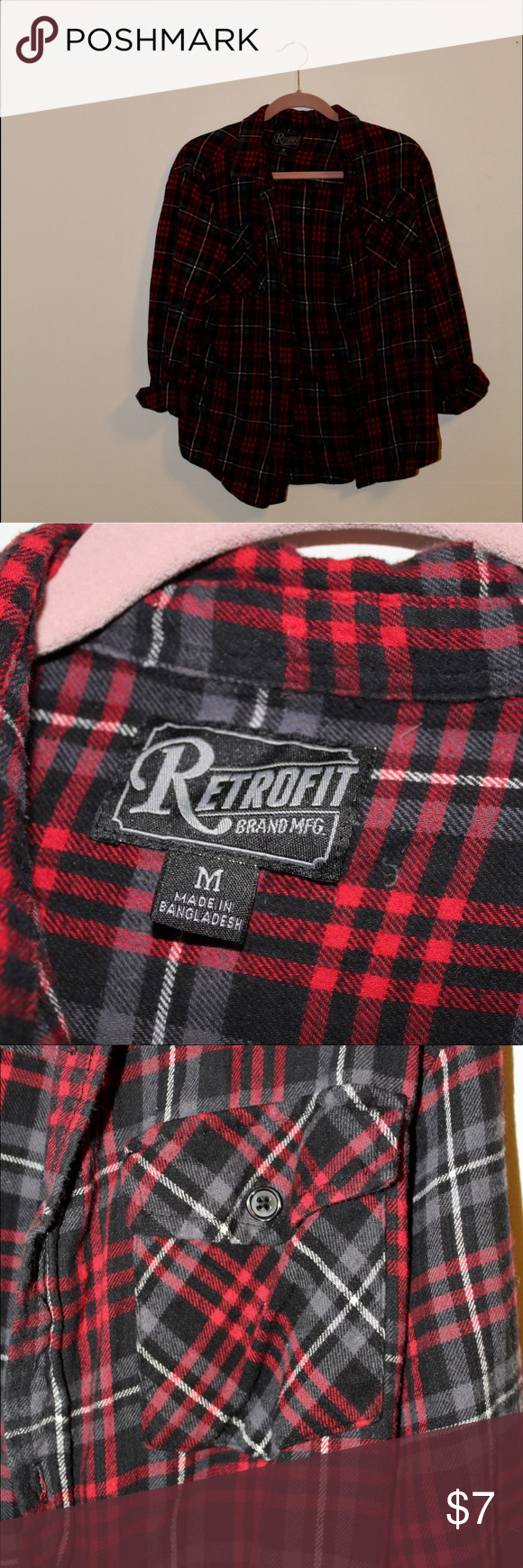 754c6eb8a9988 men s red and black plaid men s plaid button down Retrofit Shirts Casual  Button Down Shirts