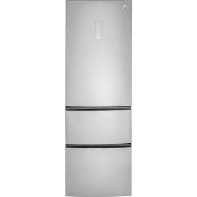 Ge 11 9 Cu Ft Counter Depth Bottom Freezer Refrigerator Stainless Steel Energy Star Lowes Com Bottom Freezer Bottom Freezer Refrigerator Narrow Refrigerator