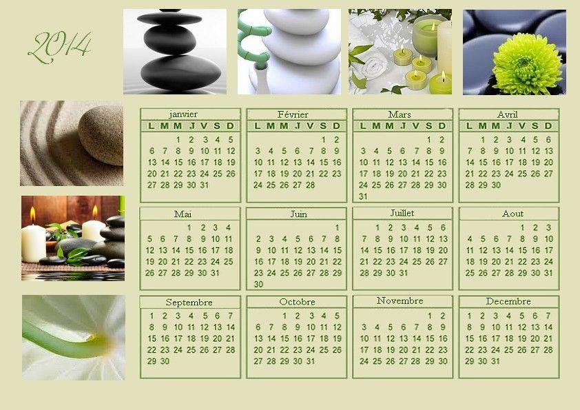 calendrier annuel 2014 thème zen