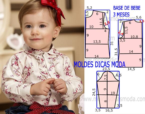 6f3e13475da MOLDE BASE DE BEBE 3 MESES - Moldes Moda por Medida