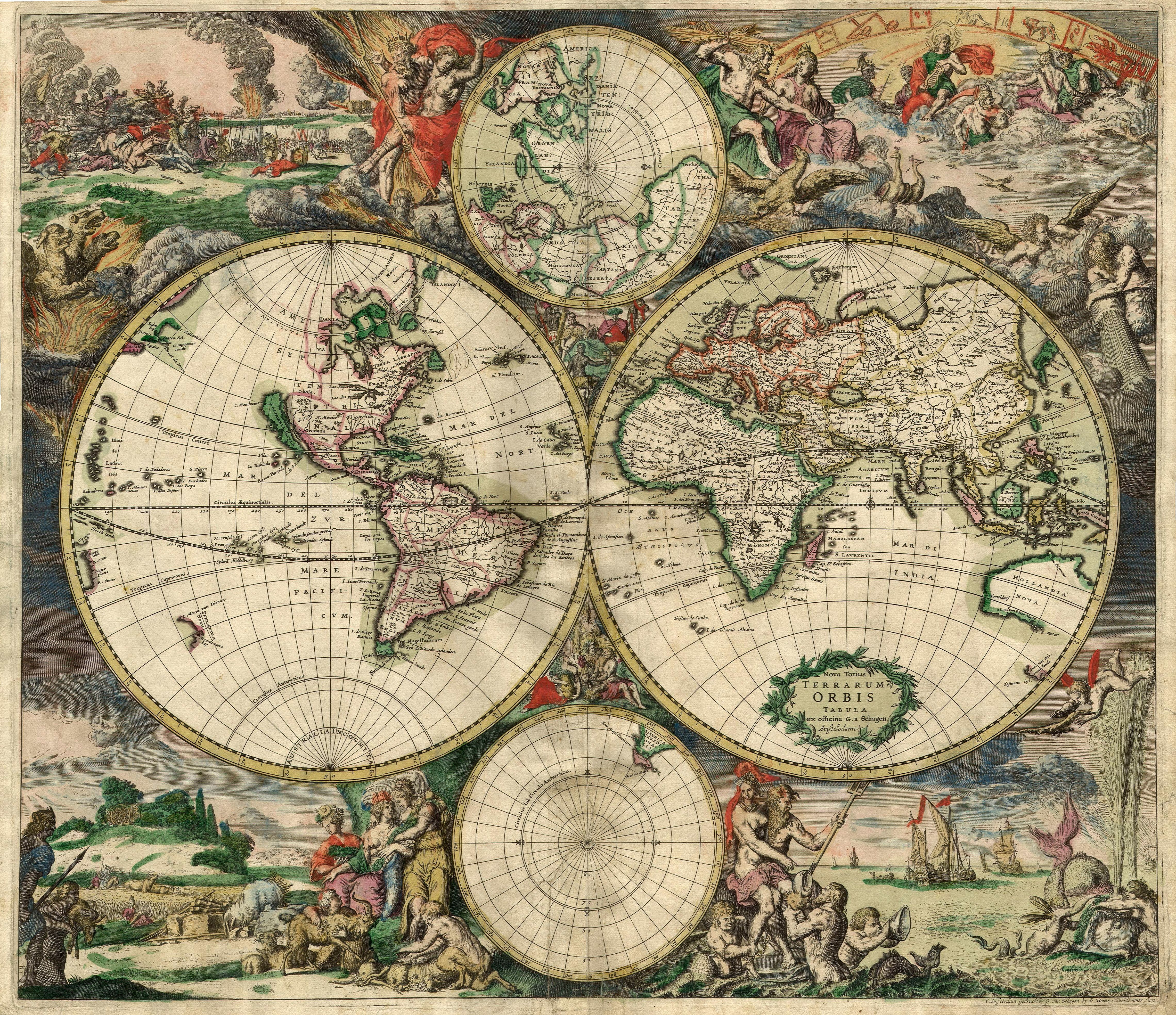 A decorative world map with antarctica as well as parts of north a decorative world map with antarctica as well as parts of north america gumiabroncs Image collections