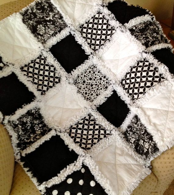 to Order Black and White Baby Rag Quilt. It can be for baby boy or ... : what is quilt used for - Adamdwight.com