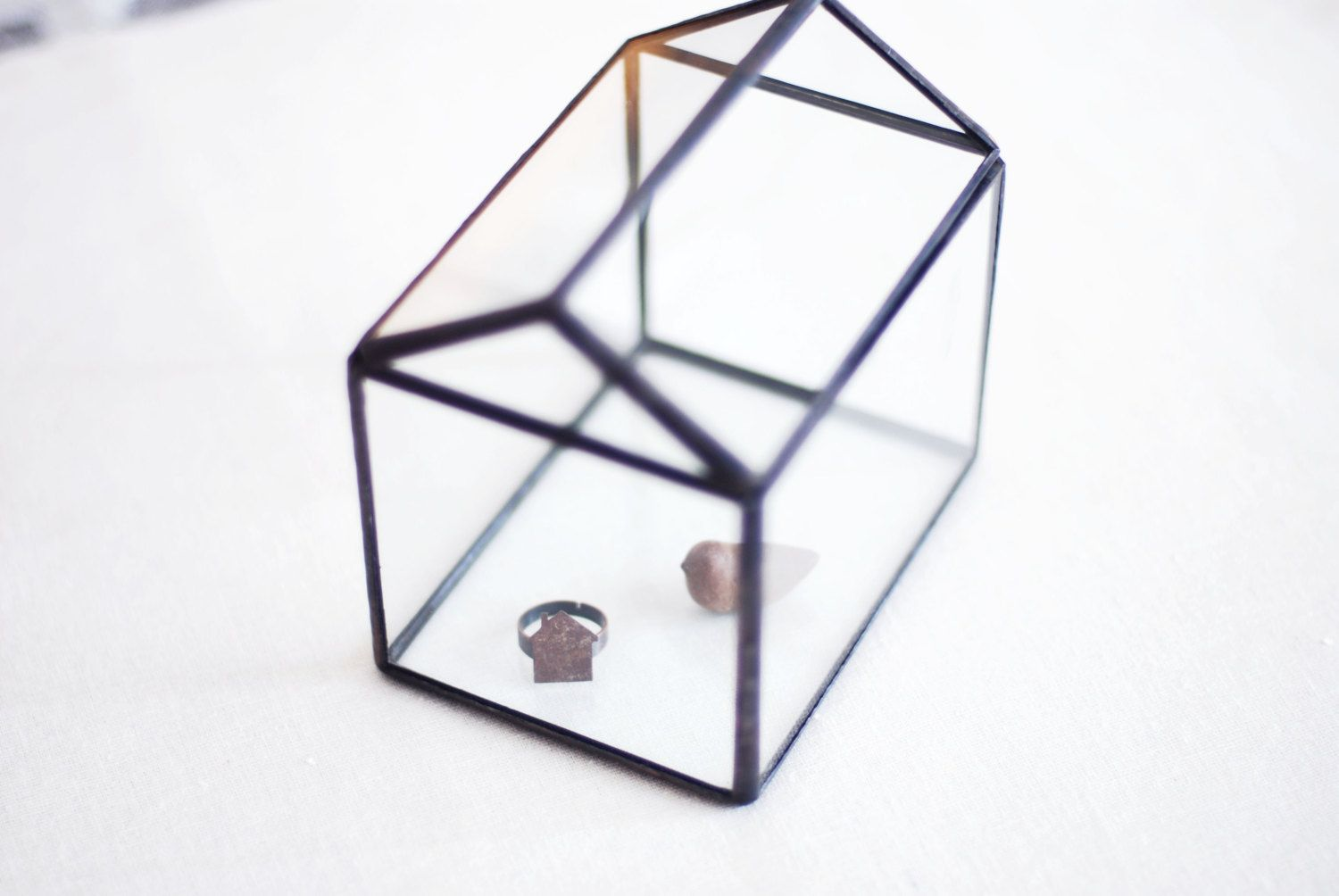 glass house with a hinged roof by boxwoodtree on Etsy, $40.00