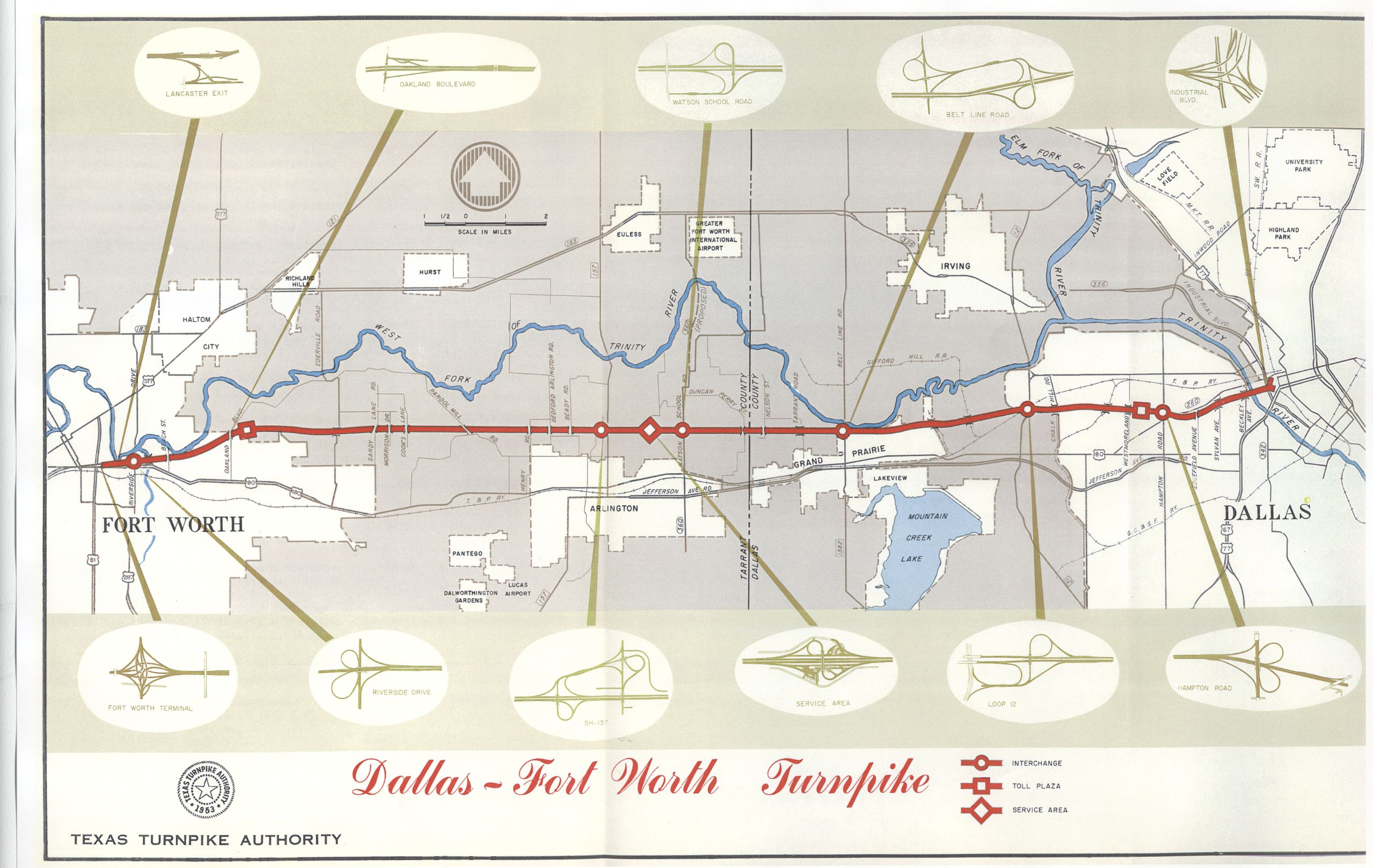 DFW Turnpike Map (now known as I-30) opened to traffic in August of on stl traffic map, austin traffic map, orlando traffic map, boston traffic map, desoto traffic map, san diego traffic map, texas traffic map, san francisco traffic map,