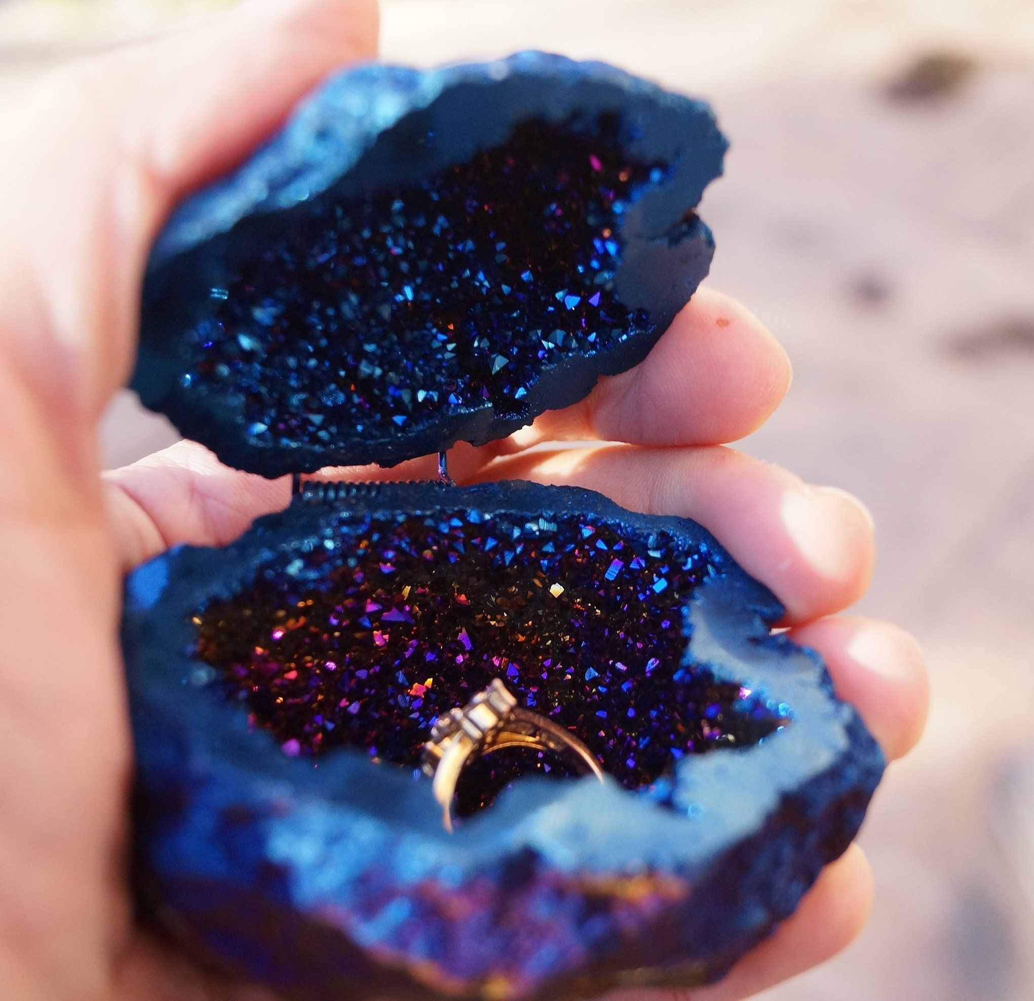 READY to ship Cobalt Blue Crystals Geode Agate Box