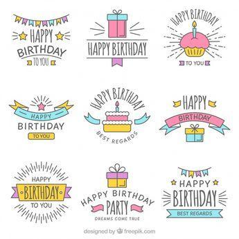 Descarga Gratis Vectores De Set De Pegatinas De Cumpleanos Dibujadas A Mano Birthday Card Drawing Creative Birthday Cards Birthday Cards For Friends