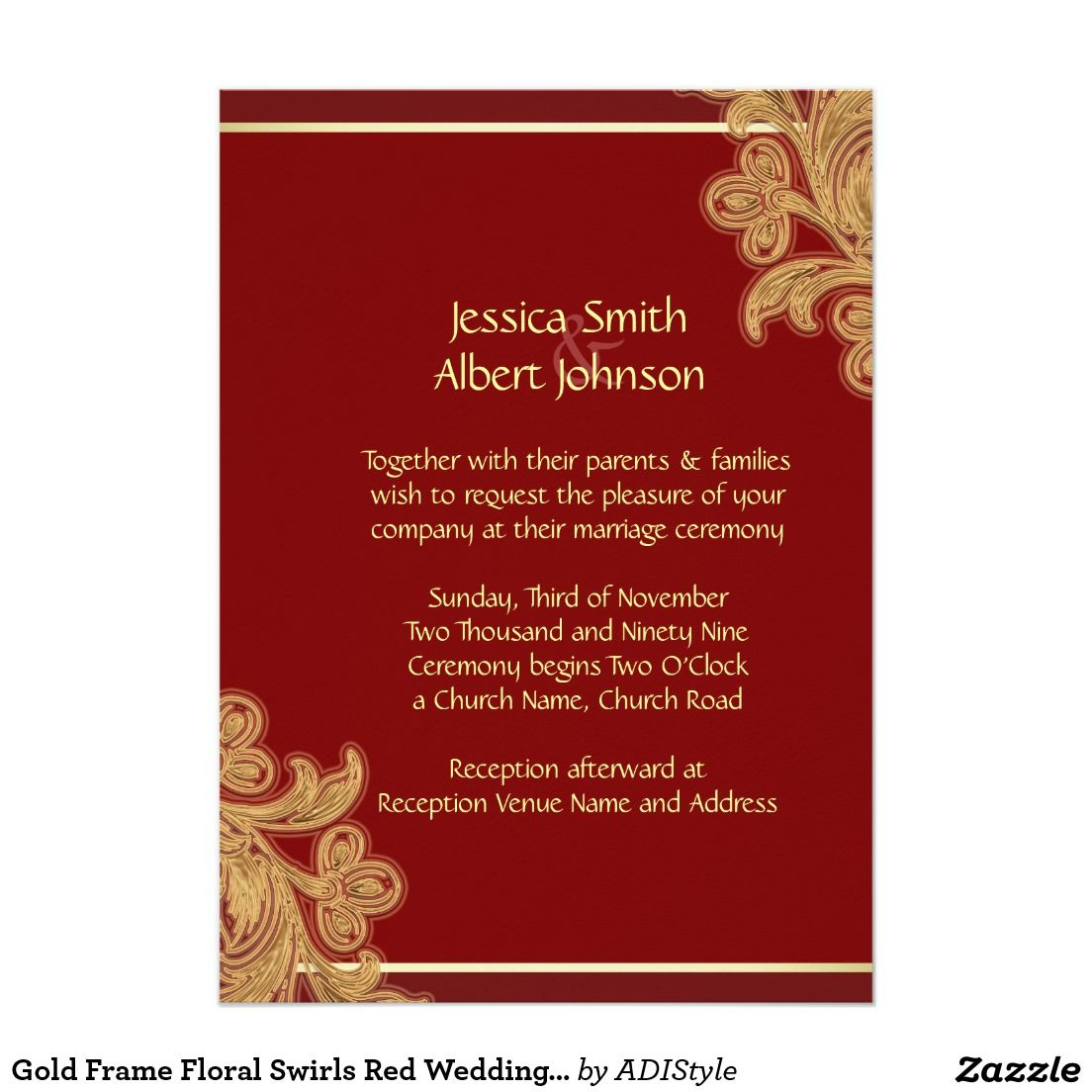 Gold Frame Floral Swirls Red Wedding Invite | Red wedding, Wedding ...