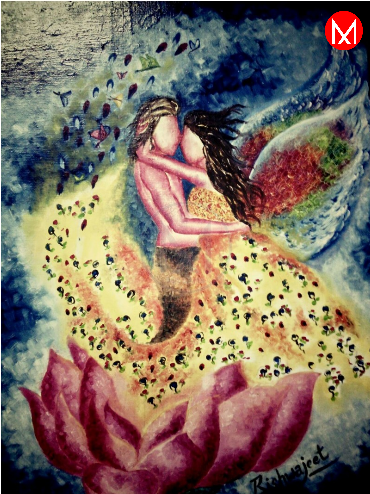Fantasy World captures the romance between two lovers in a beautiful yet surreal way. The Oil on Canvas Indian artist artwork celebrates the spirituality of love with a half naked man and a woman with angel wings, both emerging out from a pink lotus. Spiritual love and everlasting togetherness in a space of heaven https://www.mivaarts.com/fantasy-world.html #NoEmptyWalls #HomeDecor #WallPainting #VisualArt #MivaArts