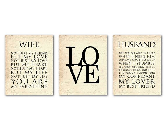 Wife Husband Typography Love Anniversary Wedding Gift Wall Art Trio Valentine S Day 8 X 10 Or Larger Print On Etsy 42 50