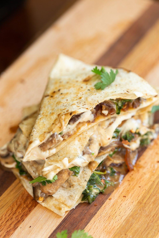 Photo of Vegan Mushroom Quesadilla with Cashew Mozzarella – Vegan Richa