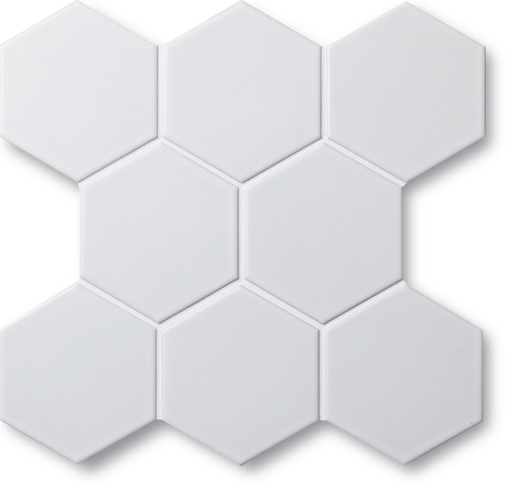 """Old Town Collection White Matte 3"""" Hexagon Mosaic Tile"""