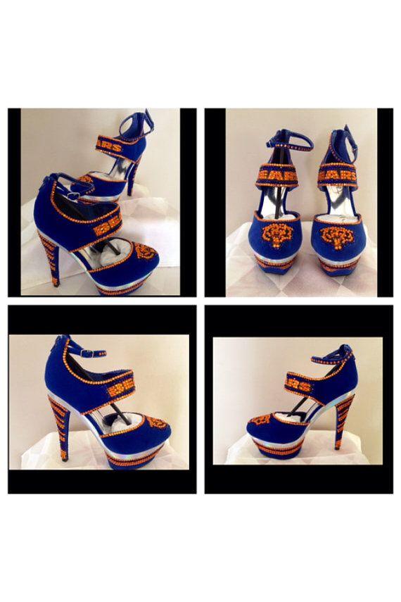 premium selection 33789 253bb Custom heels, Chicago Bears heels , Bears bling heels ...
