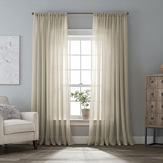 Jcpenney Home Plaza Embroidery Grommet Top Sheer Curtain Panel