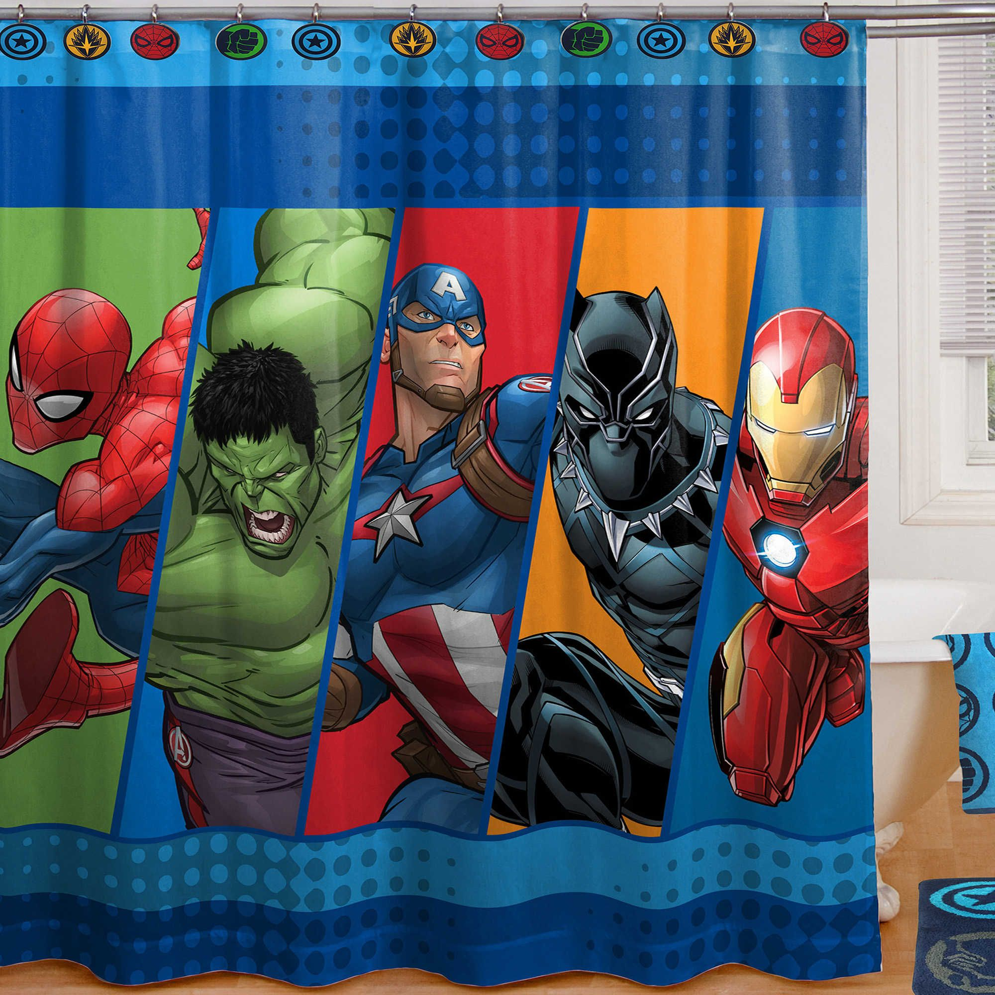 Marvel Comics Shower Curtain Iron Man Black Panther Captain America Hulk And Spider Man Superhero Room Marvel Room Superhero Bathroom