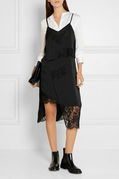 Black stretch-silk satin and lace Slips on Fabric1: 93% silk, 7% elastane…