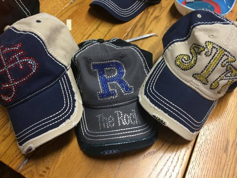 Pin By Bizzy Diva On Rhinestone Hats Custom Bling Hats Hat Designs