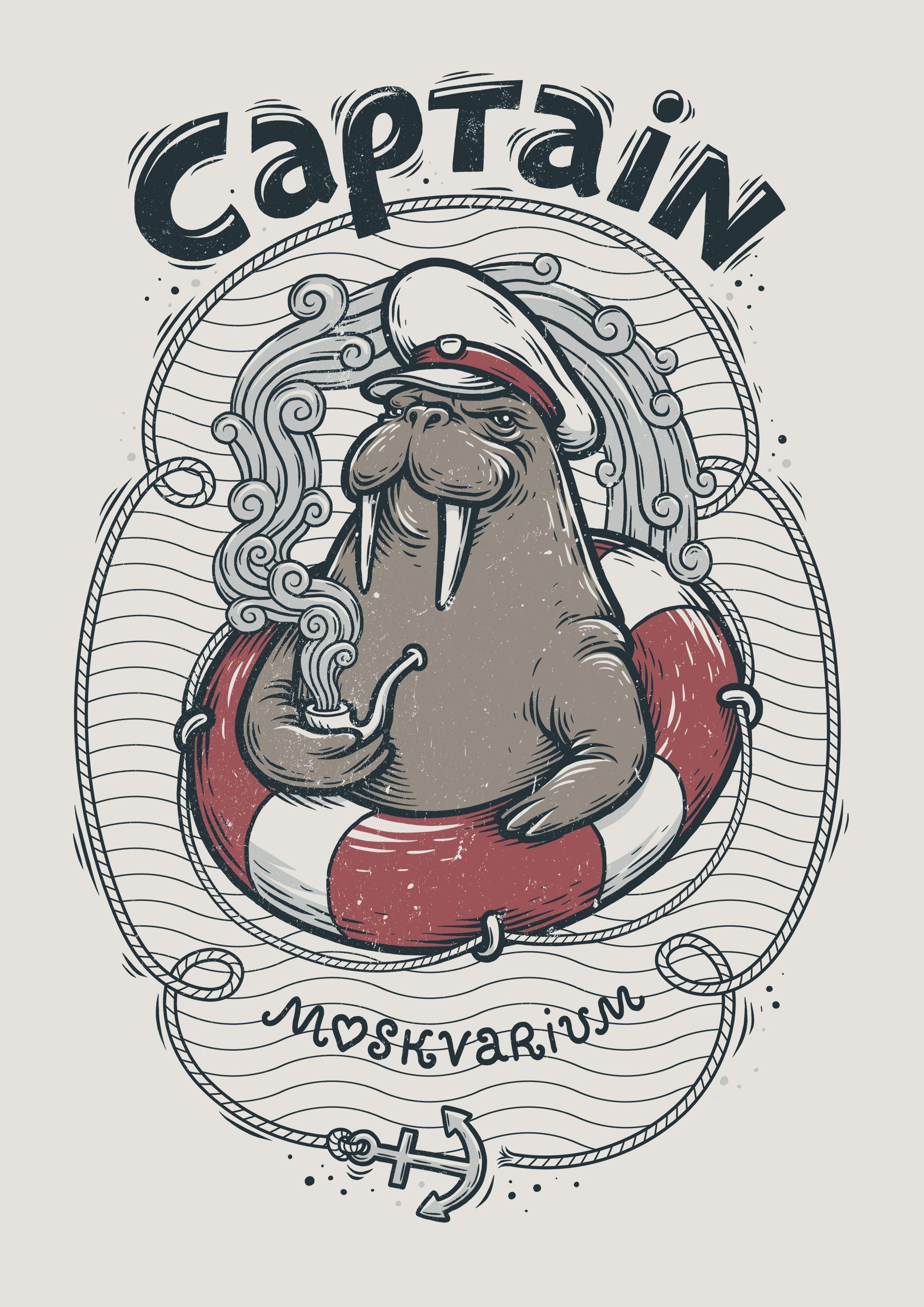 """Captain Walrus"" illustration, making of"