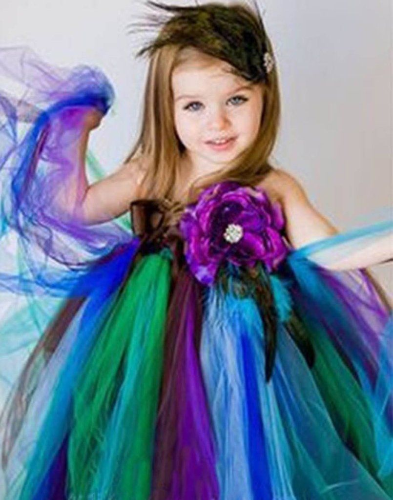 1003ab984d0c Pretty Peacock One Shoulder Flower Girl Tutu Dress Party Dress ...