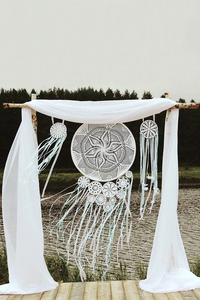 cheap boho decor bohemian white cloth arch with macrame dreamcatchers lamur_ekb via instagram