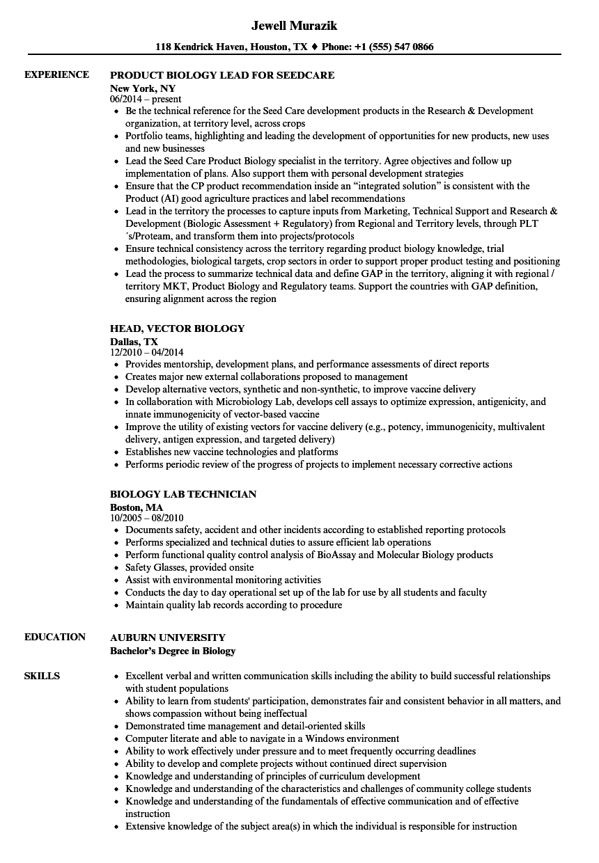 Resume Examples Biology Resume Examples Job Resume Samples Job