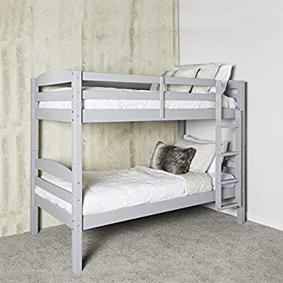 Amazon Com We Furniture Azwstotgy Classic Wood Twin Bunk Kids Bed Bedroom Gray Kitchen Dining Solid Wood Bunk Beds Wood Bunk Beds Diy Bunk Bed