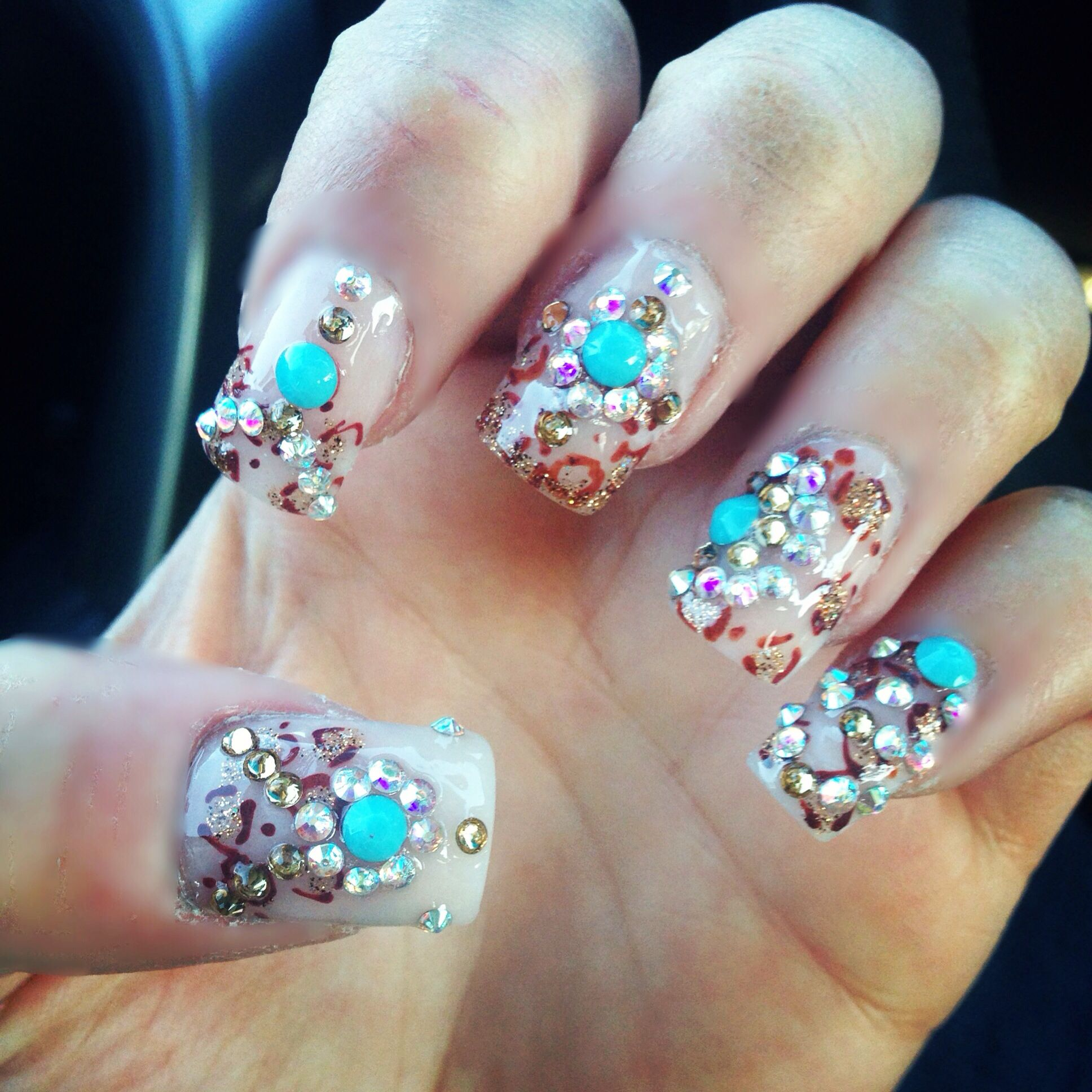 3D nails from blue diamond nails, leopard and turquoise | Nails ...