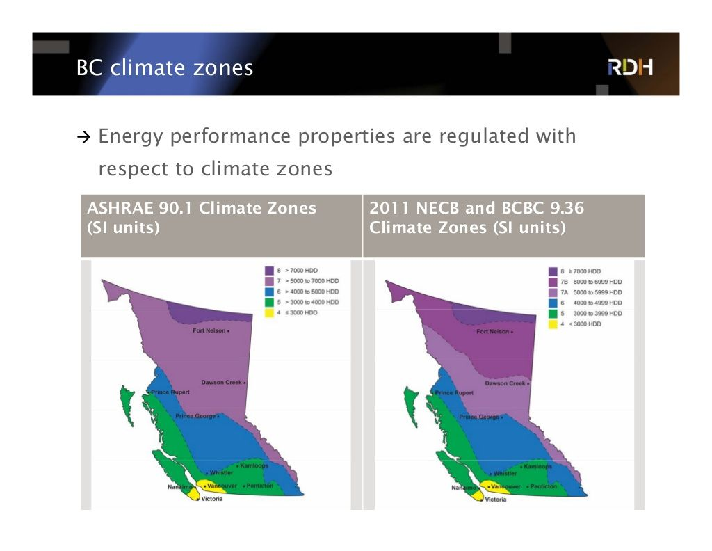 BC climate zones  Energy performance properties are regulated with respect to climate zones—but consult AHJ first! ASHRAE...
