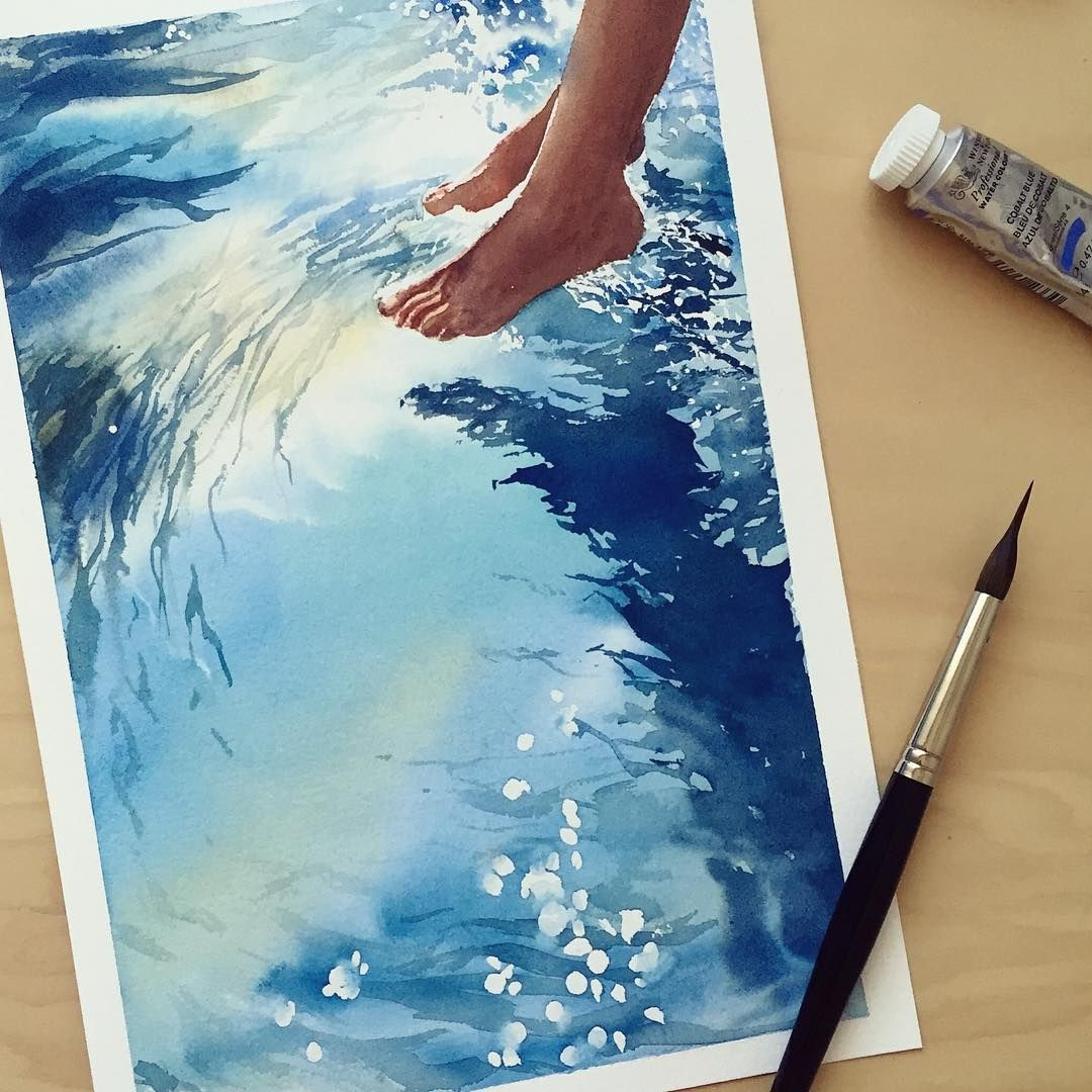 Realistic Paintings Depicting Water Reflections Watercolor Art