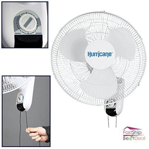 Wall Mount Oscillating Fan 16 Inch 3 Speed Settings 90 Degree Oscillation Motion Hurricanefans