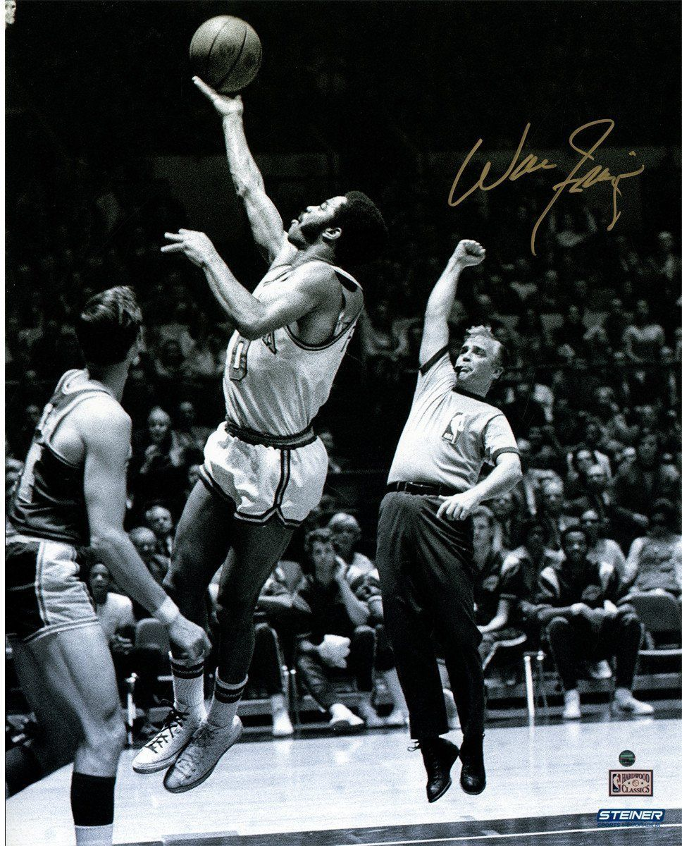 Walt Frazier Signed Jump Shot over Jerry West 16x20 Photo
