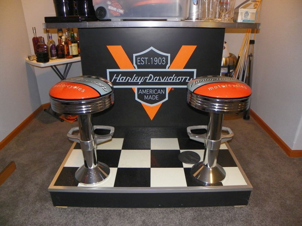 Harley Davidson Full Size Bar Man Cave Garage 2 Attached Swivel Stools Harley Davidson Decor Harley Davidson Harley