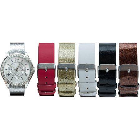 Women's Silver-Tone Case Watch Set with 6 Interchangeable Watch Straps, Silver