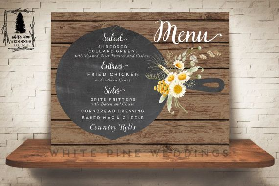 Printable Wedding Menu Dinner Custom Chalkboard Poster Rust