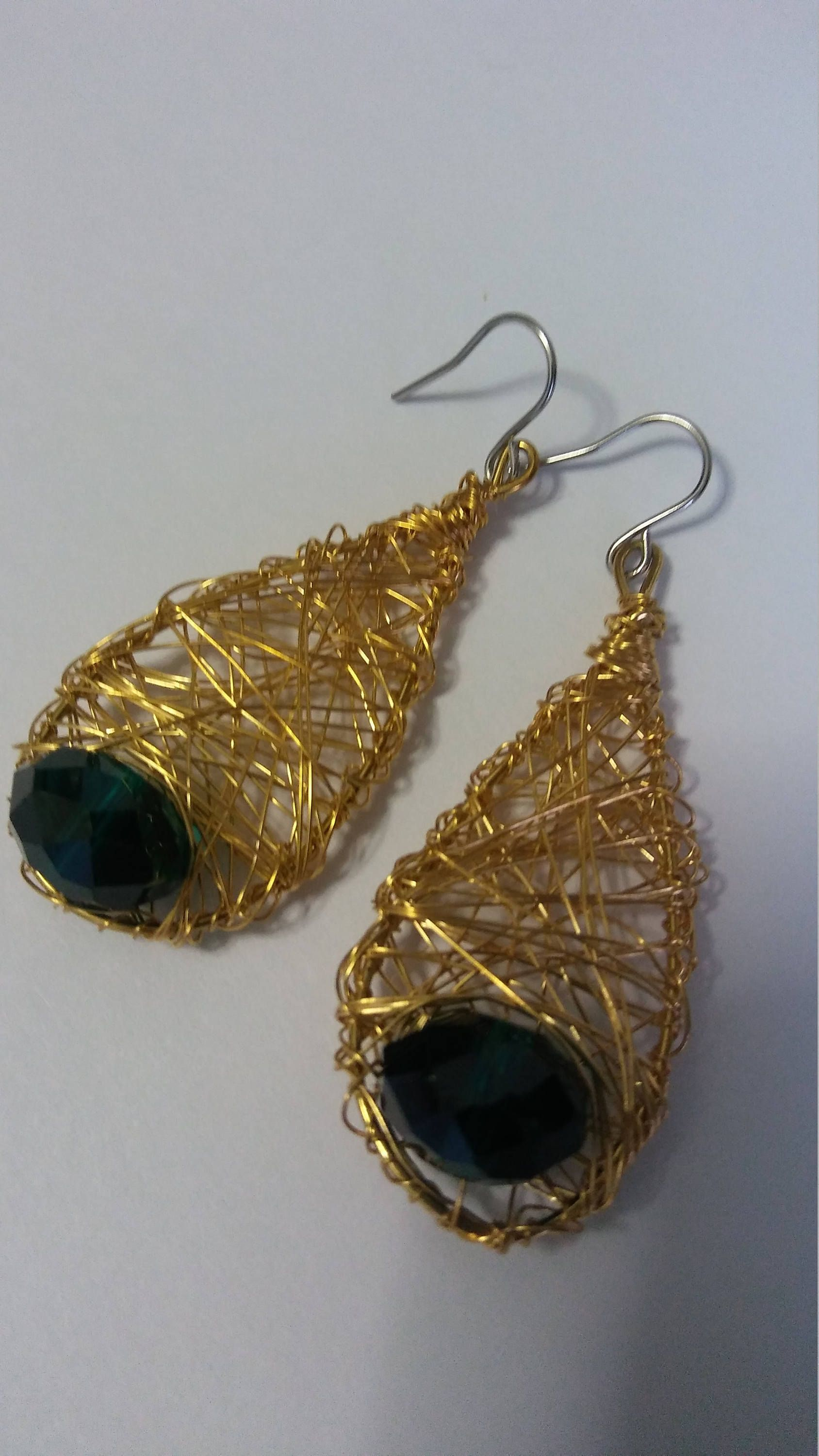 Handmade wire earrings gold color with emerald green crystals non ...