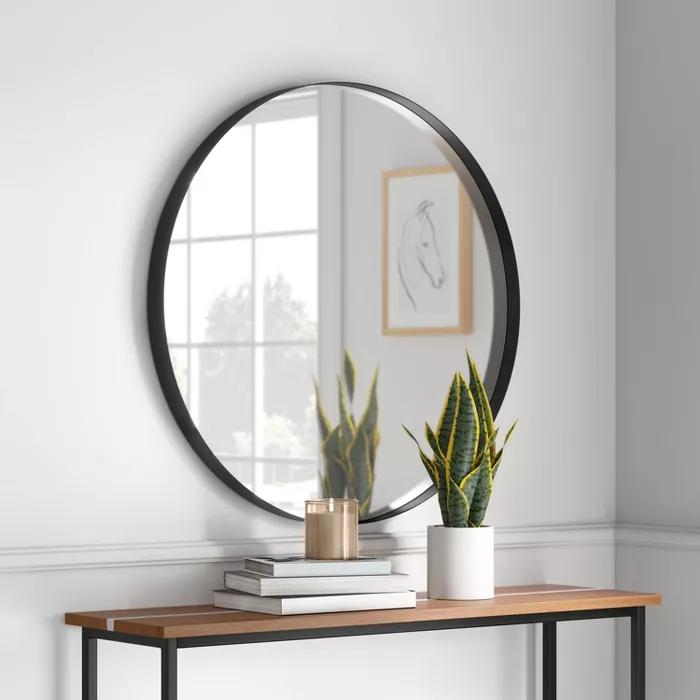 30 Flush Mount Round Decorative Wall Mirror Black Project 62 In 2021 Mirror Wall Mirror Wall Decor Round Mirror Decor