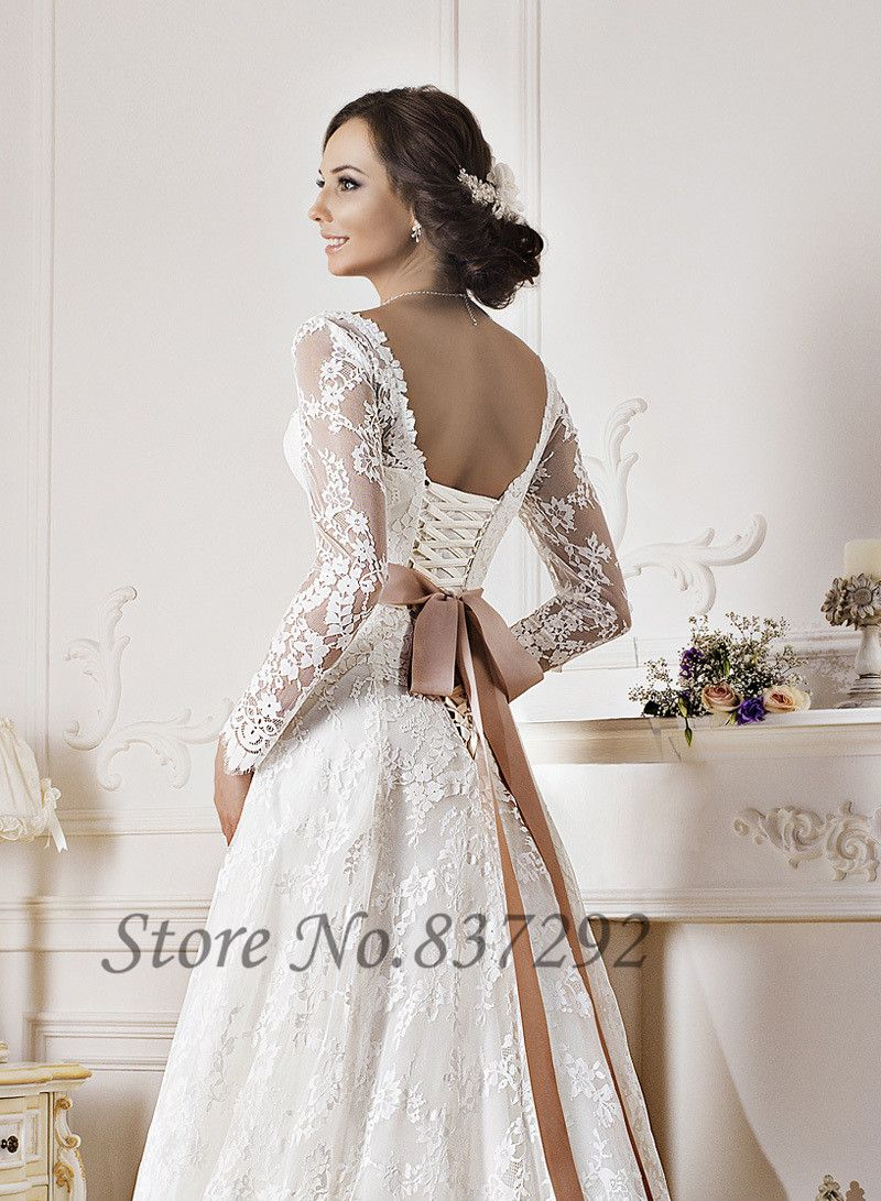Gorgeous white lace long sleeve wedding dresses a line for White corset wedding dress