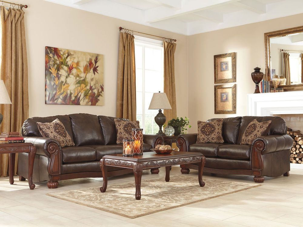 CORDOBA - TRADITIONAL BROWN BONDED LEATHER SOFA COUCH SET LIVING ROOM FURNITURE #Traditional
